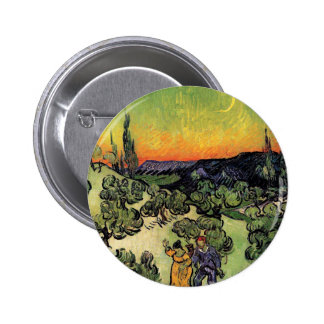 Van Gogh - Landscape With Couple Walking Button