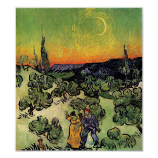 Van Gogh - Landscape With Couple Walking Poster