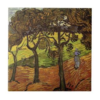 Van Gogh Landscape with Trees, Vintage Fine Art Ceramic Tile