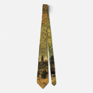 Van Gogh Lane w Poplars, Vintage Impressionism Art Tie