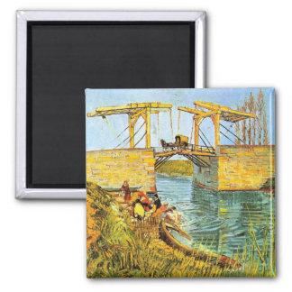 Van Gogh Langlois Bridge at Arles w Women Washing Magnet