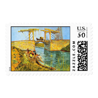 Van Gogh Langlois Bridge at Arles w Women Washing Postage