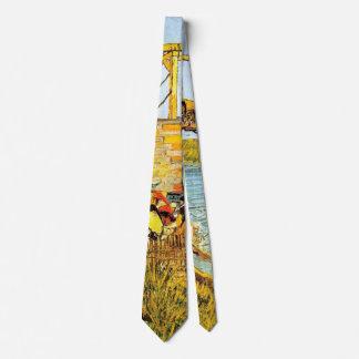 Van Gogh Langlois Bridge at Arles w Women Washing Tie