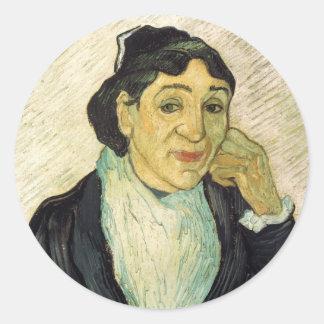 Van Gogh, L'Arlesienne (Madame Ginoux) Portrait Classic Round Sticker