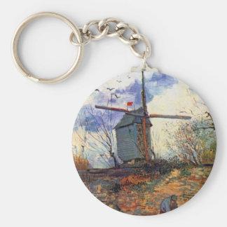 Van Gogh - Le Moulin De La Galette Windmill Basic Round Button Keychain