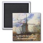 Van Gogh; Le Moulin de la Galette (Windmill) 2 Inch Square Magnet