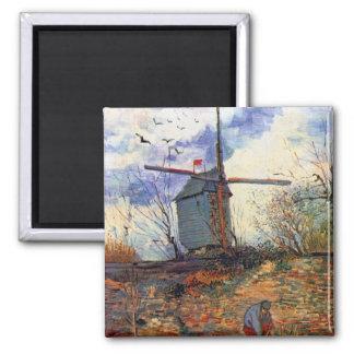 Van Gogh - Le Moulin De La Galette Windmill 2 Inch Square Magnet