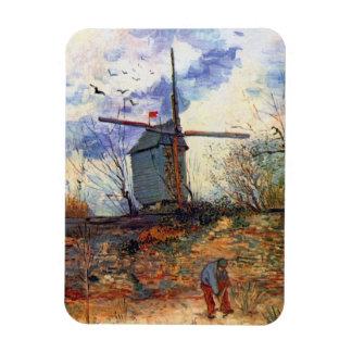 Van Gogh - Le Moulin De La Galette Windmill Rectangular Photo Magnet