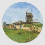 Van Gogh; Le Moulin de la Galette (Windmill) Classic Round Sticker