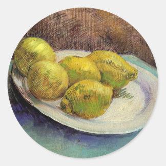 Van Gogh Lemons on a Plate, Vintage Still Life Art Classic Round Sticker