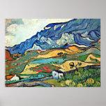 """Van Gogh - Les Alpilles Mountain Landscape Poster<br><div class=""""desc"""">Vincent van Gogh painting,  Les Alpilles Mountain Landscape,  poster.</div>"""