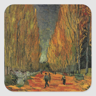 Van Gogh; Les Alyscamps (Cemetery), Vintage Art Square Sticker