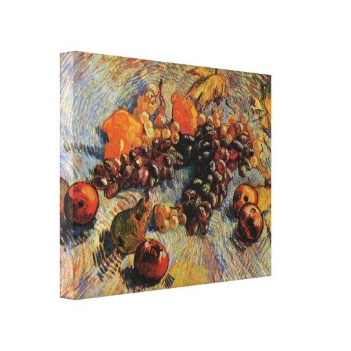 Van Gogh - limones y uvas de las peras de las manz Lona Estirada Galerias