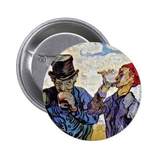 Van Gogh - los bebedores Pin Redondo De 2 Pulgadas