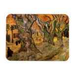 Van Gogh los componedores de camino, impresionismo Iman Rectangular
