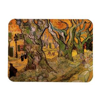 Van Gogh los componedores de camino impresionismo Iman Rectangular