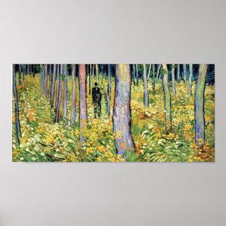 Van Gogh - maleza con dos figuras Posters