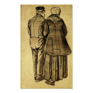 Van Gogh - Man and Woman Seen from the Back Posters