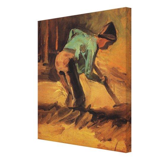 Van Gogh; Man Stooping Stick or Spade, Vintage Art Canvas Print