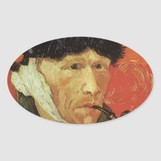 Van Gogh - Man With Pipe Oval Sticker