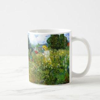 Van Gogh; Margarita Gachet en el jardín, arte del Taza Básica Blanca
