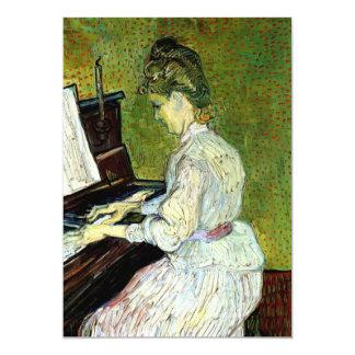 Van Gogh; Margarita Gachet en el piano, arte del Invitación 12,7 X 17,8 Cm
