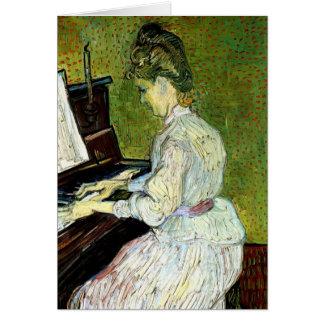 Van Gogh; Margarita Gachet en el piano, arte del v Felicitación
