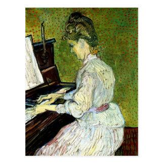 Van Gogh; Margarita Gachet en el piano, arte del v Tarjeta Postal