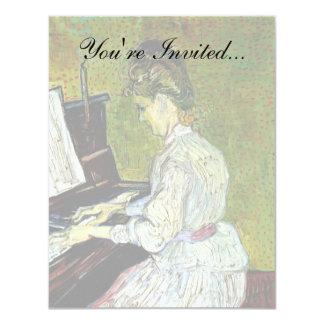 Van Gogh - margarita Gachet en el piano Invitación 10,8 X 13,9 Cm