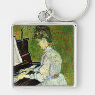 Van Gogh; Marguerite Gachet at Piano, Vintage Art Silver-Colored Square Keychain