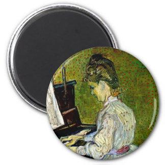 Van Gogh - Marguerite Gachet At The Piano 2 Inch Round Magnet