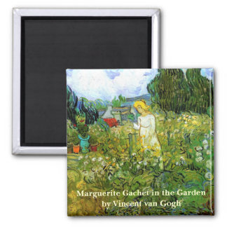 Van Gogh; Marguerite Gachet in Garden, Vintage Art 2 Inch Square Magnet