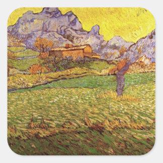 Van Gogh Meadow in Mountains: Le Mas de Saint Paul Square Sticker
