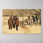 Van Gogh - mineros en el invierno de la nieve Póster