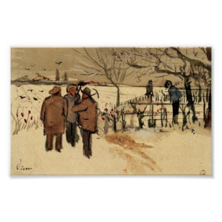 Van Gogh - Miners in the Snow Winter Poster