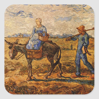 Van Gogh; Morning: Peasant Couple Going to Work Square Sticker
