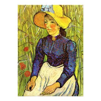 Van Gogh, mujer campesina joven con el gorra de pa Anuncio Personalizado