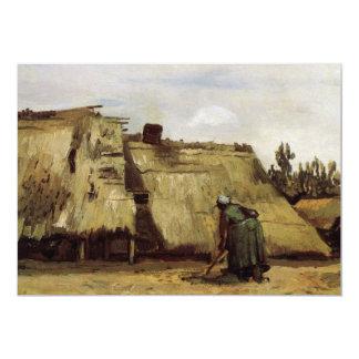 """Van Gogh, mujer campesina que cava, frente de la Invitación 5"""" X 7"""""""