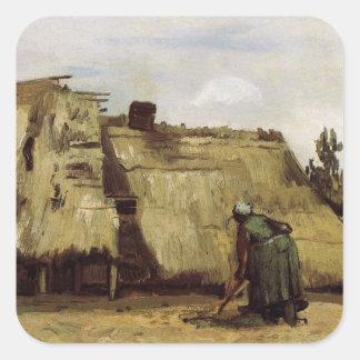 Van Gogh, mujer campesina que cava, frente de la Calcomania Cuadrada Personalizada