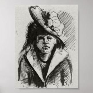 Van Gogh - mujer con el gorra, Mitad-Longitud Posters