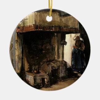 Van Gogh; Mujer por un hogar, impresionismo del Adorno Redondo De Cerámica