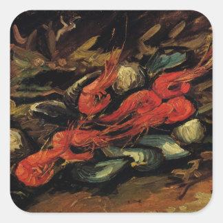 Van Gogh, Mussels and Shrimp, Vintage Still Life Square Sticker