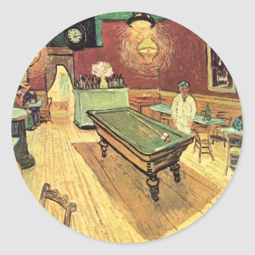 Van Gogh; Night Cafe in the Place Lamartine, Arles Round Stickers