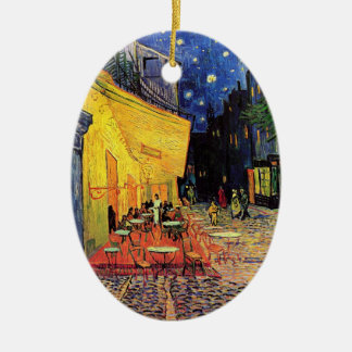 Van Gogh Night Cafe Terrace on the Place du Forum Double-Sided Oval Ceramic Christmas Ornament