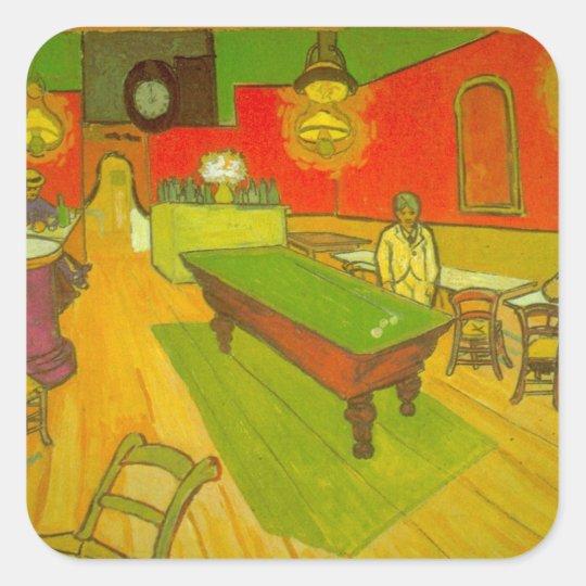 Van Gogh Night Cafe, Vintage Fine Art Square Sticker