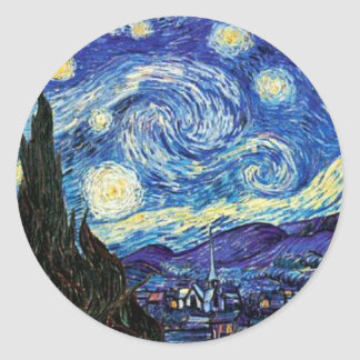 Van Gogh, noche estrellada Pegatina Redonda
