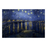 Van Gogh - noche estrellada sobre el Rhone (1888) Posters