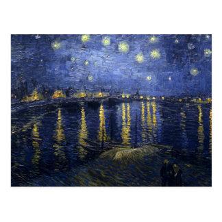 Van Gogh - noche estrellada sobre el Rhone (1888) Postales