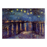 Van Gogh; Noche estrellada sobre el Rhone, arte de Tarjeta