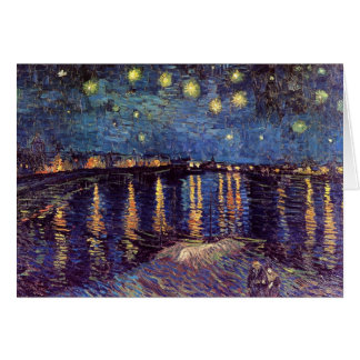 Van Gogh Noche estrellada sobre el Rhone arte de Tarjeta